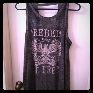 Dark gray graphic tank top